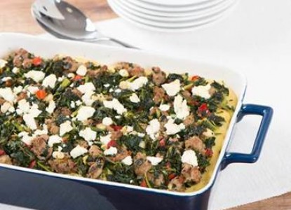 Cookin' Greens Mediterranean Polenta Bake with Kale & Sausage
