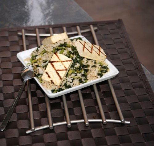 Cookin' Greens with Grilled Tofu & Brown Rice
