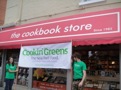 Cookin Greens in front of the cook book store