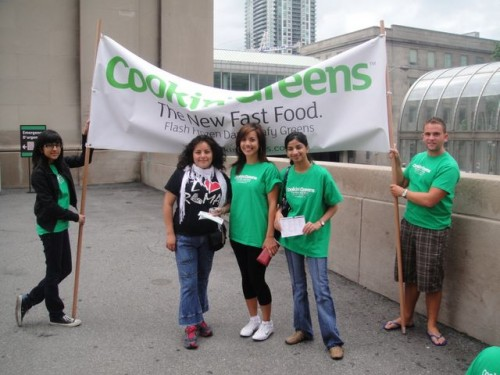 Getting our green on at Union Station in  downtown Toronto