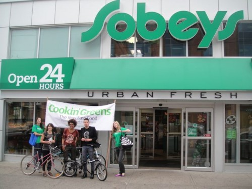 Our Team in front of  Sobeys Urban Fresh  at 197 Front Street E.  This is one of Sobeys'  many urban Fresh  locations you can  find us in