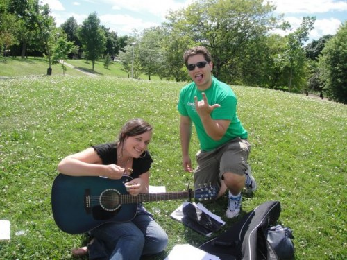 Rockin' out with  Cookin' Greens in  the park
