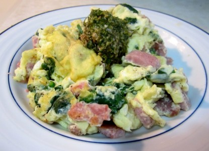 Cookin' Greens Green Eggs & Ham with Chopped Spinach