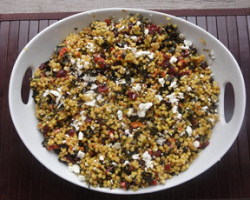 Cookin' Greens Coucous Salad with Sundried Tomatoes, Cranberries & Feta Cheese