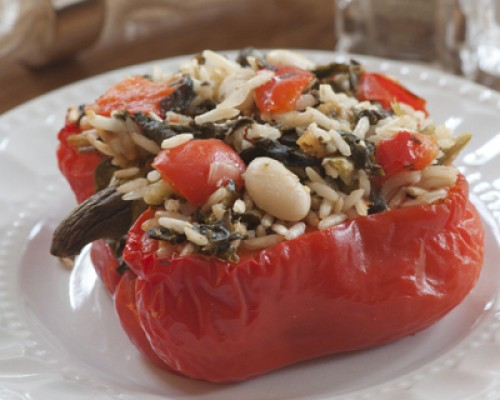 Cookin' Greens Stuffed Red Peppers