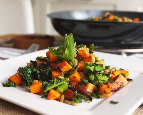 Cookin' Greens Sautéed Kale, Caramelized Sweet Potato & Wild Rice